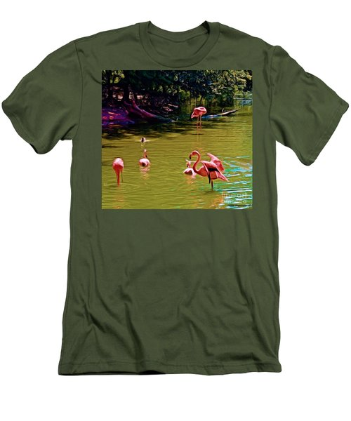 Flamingo Party Men's T-Shirt (Athletic Fit)