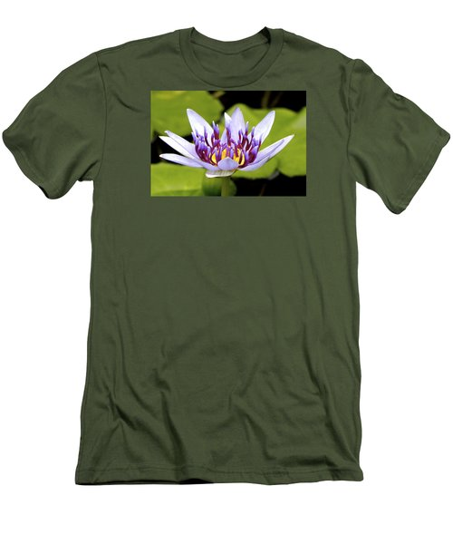 Men's T-Shirt (Slim Fit) featuring the photograph Floating Purple Waterlily by Lehua Pekelo-Stearns