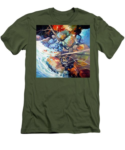 Men's T-Shirt (Slim Fit) featuring the painting Flood Plain by Rae Andrews