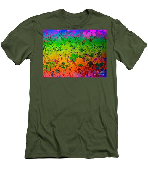 Men's T-Shirt (Slim Fit) featuring the photograph Floral Rainbow by Judy Palkimas