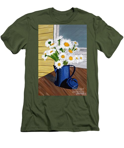 Men's T-Shirt (Slim Fit) featuring the painting Flowers In A Teapot by Laura Forde