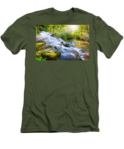 Forest Stream And Waterfall Men's T-Shirt (Athletic Fit)