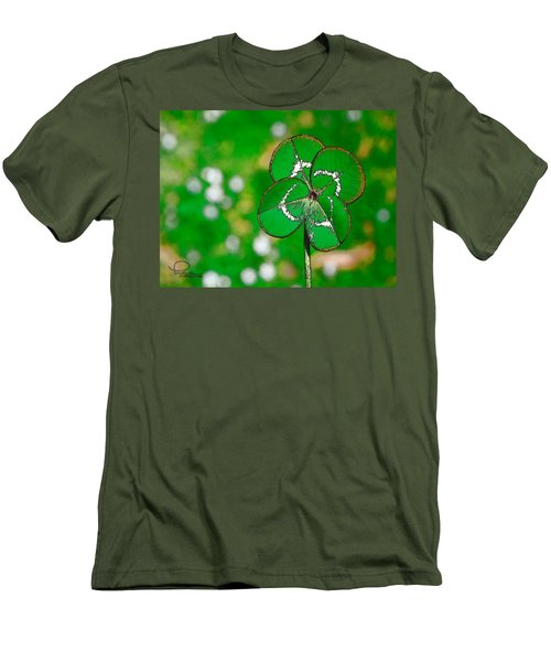 Men's T-Shirt (Slim Fit) featuring the digital art Four Leaf Clover by Ludwig Keck