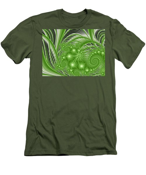 Fractal Abstract Green Nature Men's T-Shirt (Slim Fit) by Gabiw Art