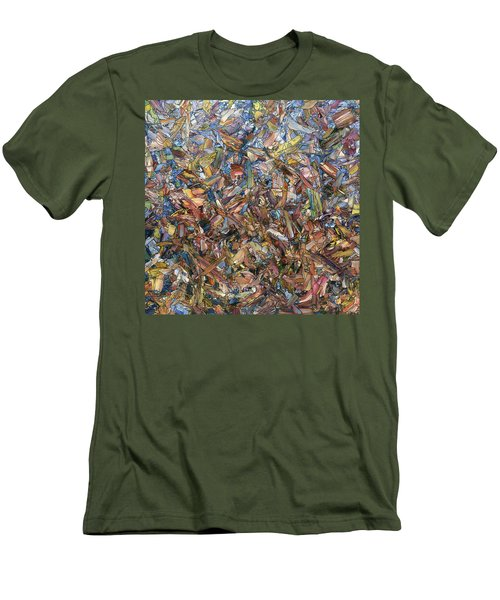 Men's T-Shirt (Slim Fit) featuring the painting Fragmented Fall - Square by James W Johnson