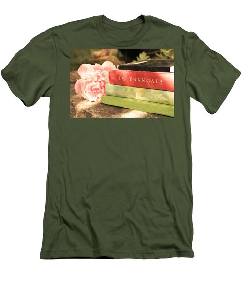 Men's T-Shirt (Slim Fit) featuring the photograph French Books And Peony by Brooke T Ryan