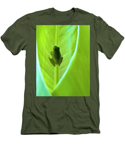 Men's T-Shirt (Slim Fit) featuring the photograph Frog In Blankie by Faith Williams