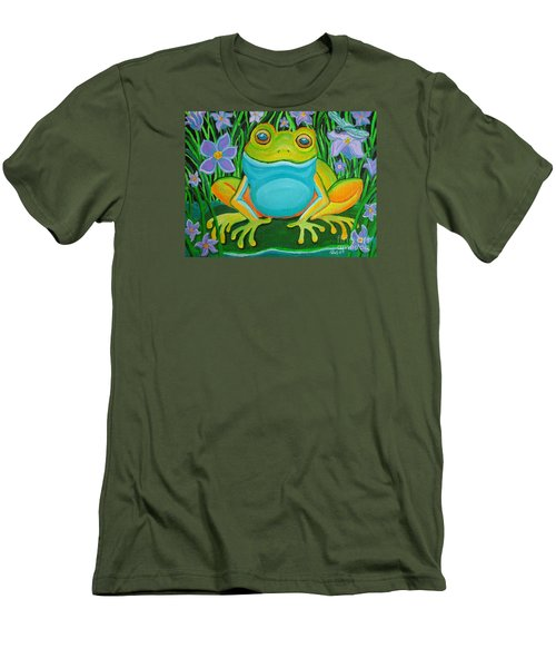 Frog On A Lily Pad Men's T-Shirt (Slim Fit) by Nick Gustafson