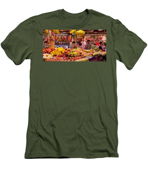 Fruits At Market Stalls, La Boqueria Men's T-Shirt (Slim Fit) by Panoramic Images
