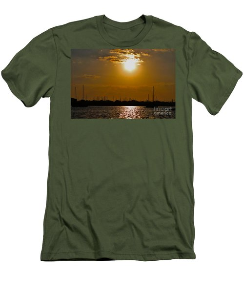Men's T-Shirt (Slim Fit) featuring the photograph Ft. Pierce Florida Docks At Dusk by Janice Rae Pariza