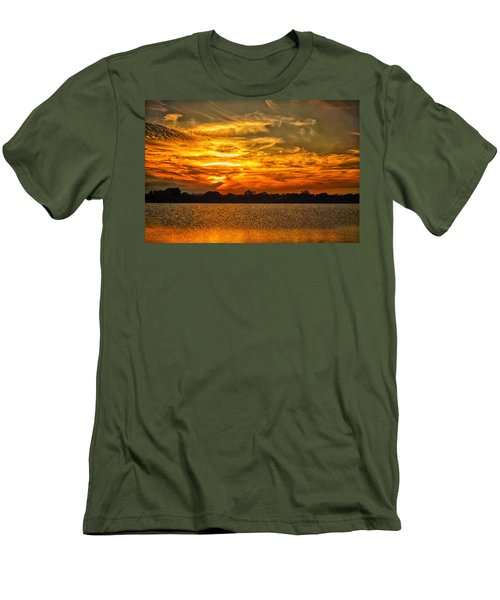 Galveston Island Sunset Dsc02805 Men's T-Shirt (Slim Fit) by Greg Kluempers