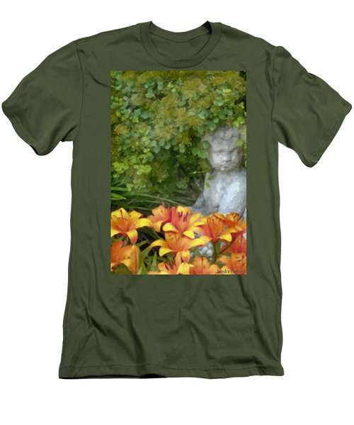 Men's T-Shirt (Slim Fit) featuring the photograph Garden Girl And Orange Lilies Digital Watercolor by Sandra Foster