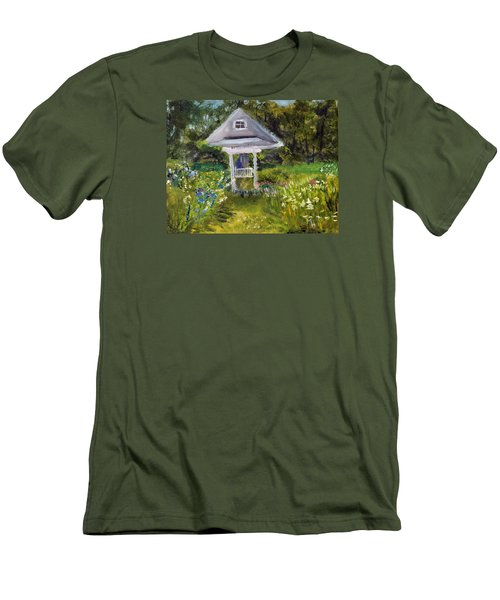 Men's T-Shirt (Slim Fit) featuring the painting Garden Path by Michael Helfen