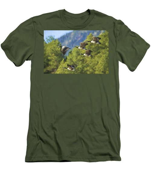 Geese On A Mission Men's T-Shirt (Athletic Fit)