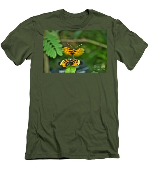 Men's T-Shirt (Slim Fit) featuring the photograph Gentle Butterfly Courtship 03 by Thomas Woolworth