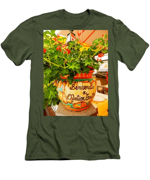 Geranium Planter Men's T-Shirt (Slim Fit) by Pema Hou