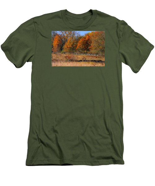 Men's T-Shirt (Slim Fit) featuring the photograph Gettysburg At Rest - Autumn Looking Towards The J. Weikert Farm by Michael Mazaika