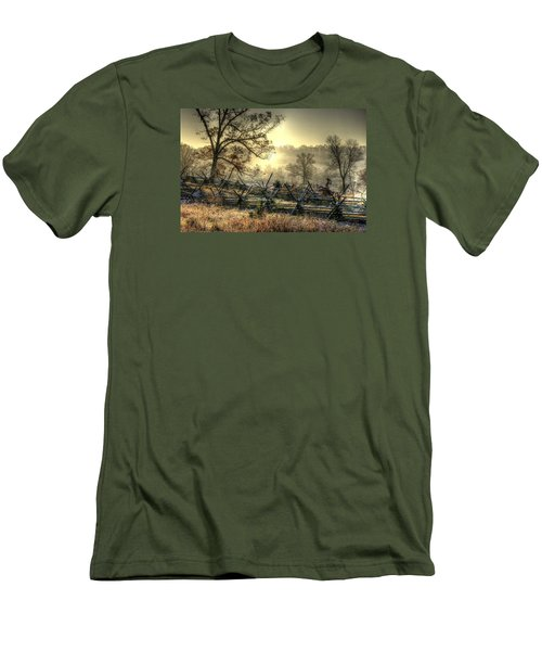 Men's T-Shirt (Slim Fit) featuring the photograph Gettysburg At Rest - Sunrise Over Northern Portion Of Little Round Top by Michael Mazaika