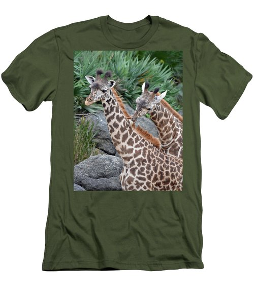 Giraffe Massage Men's T-Shirt (Slim Fit) by Richard Bryce and Family