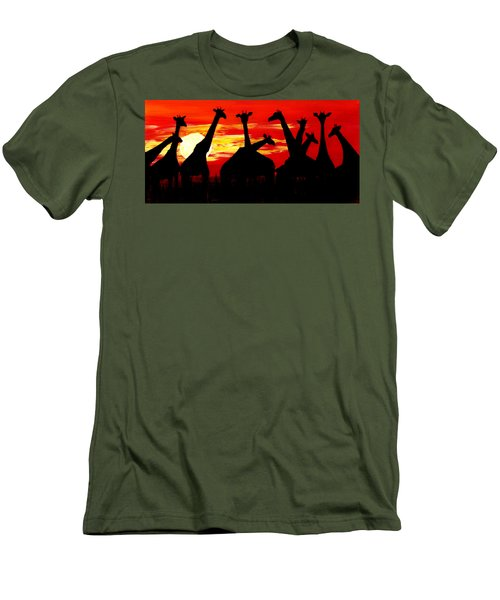 Giraffes Sunset Africa Serengeti Men's T-Shirt (Athletic Fit)