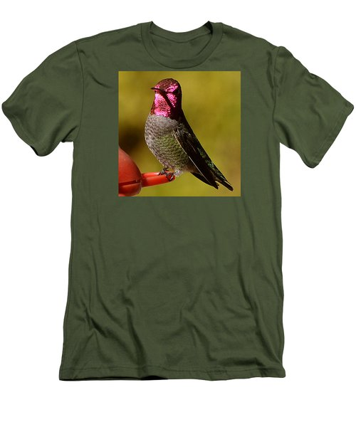 Men's T-Shirt (Slim Fit) featuring the photograph Glimmering Red Headed Mail Anna by Jay Milo