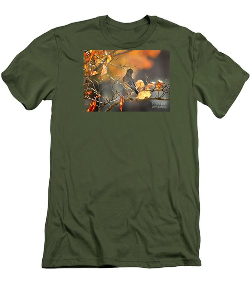 Glowing Robin 2 Men's T-Shirt (Slim Fit) by Nava Thompson