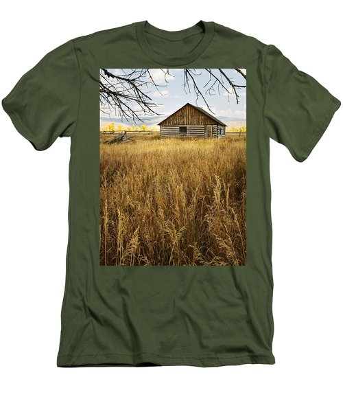 Men's T-Shirt (Slim Fit) featuring the photograph Golden Cabin by Sonya Lang