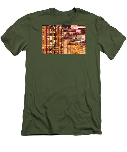 Men's T-Shirt (Slim Fit) featuring the photograph City Of Vancouver - Golden City Of Lights Cdlxxxvii by Amyn Nasser