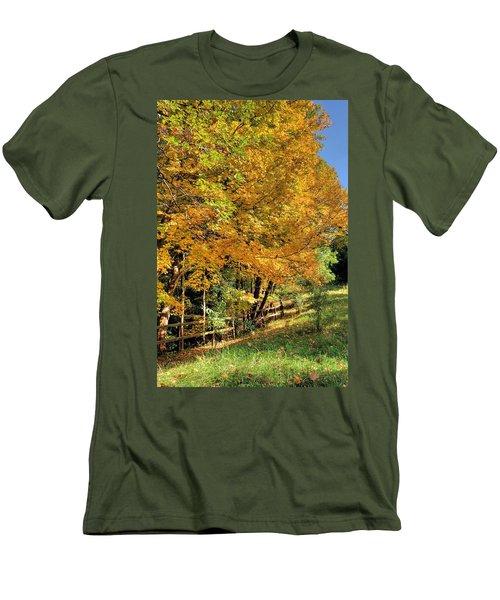 Men's T-Shirt (Slim Fit) featuring the photograph Golden Fenceline by Gordon Elwell