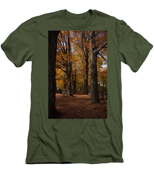 Men's T-Shirt (Slim Fit) featuring the photograph Golden Rows Of Maples Guide The Way by Jeff Folger