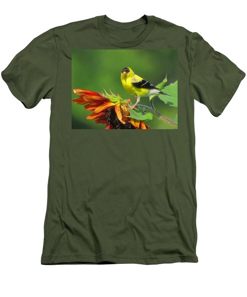 Men's T-Shirt (Slim Fit) featuring the photograph Goldfinch Pose by Dianne Cowen