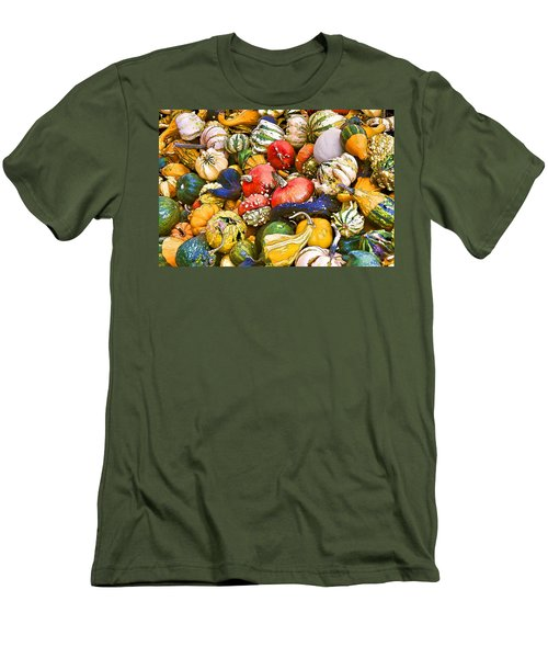 Gourds And Pumpkins At The Farmers Market Men's T-Shirt (Slim Fit) by Peggy Collins