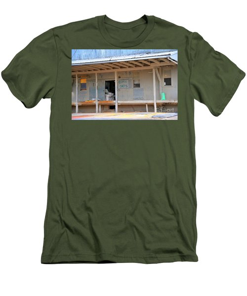 Men's T-Shirt (Slim Fit) featuring the photograph Grain Elevator by Terri Gostola