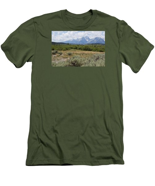 Men's T-Shirt (Slim Fit) featuring the photograph Grand Tetons From Willow Flats by Belinda Greb