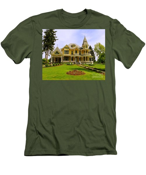 Men's T-Shirt (Slim Fit) featuring the photograph Grand Yellow Victorian by Becky Lupe