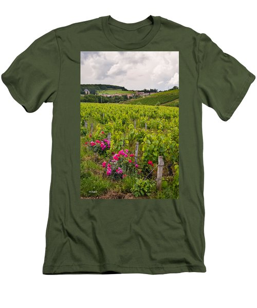 Men's T-Shirt (Slim Fit) featuring the photograph Grapes And Roses by Allen Sheffield