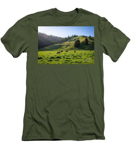 Grazing Hillside Men's T-Shirt (Slim Fit) by CML Brown