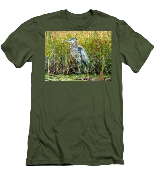 Great Blue Heron Waiting For Supper Men's T-Shirt (Slim Fit) by Eti Reid