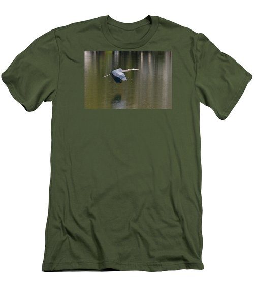 Men's T-Shirt (Slim Fit) featuring the photograph Great Blue Over Green by Paul Rebmann