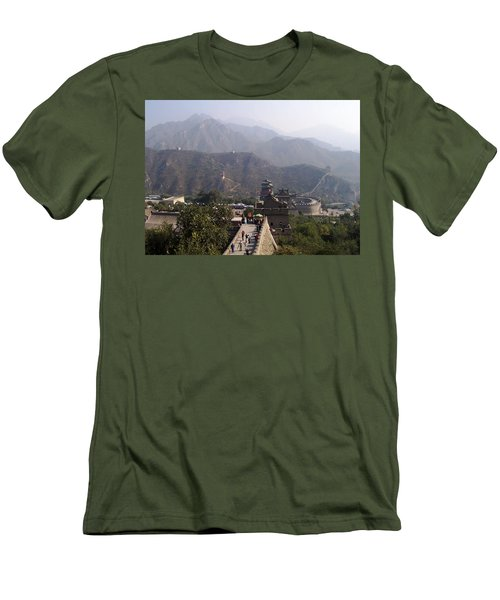 Great Wall Of China At Badaling Men's T-Shirt (Slim Fit) by Debbie Oppermann