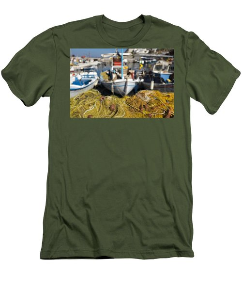 Greek Fishing Harbour Men's T-Shirt (Slim Fit) by Mike Santis