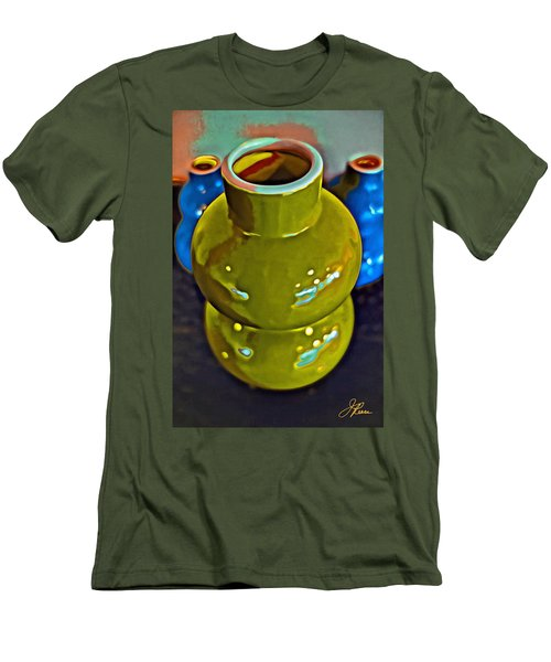 Men's T-Shirt (Athletic Fit) featuring the painting Green  Blue Vases by Joan Reese
