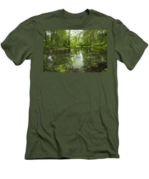 Green Blossoms On Pond Men's T-Shirt (Slim Fit) by Jerry Cowart