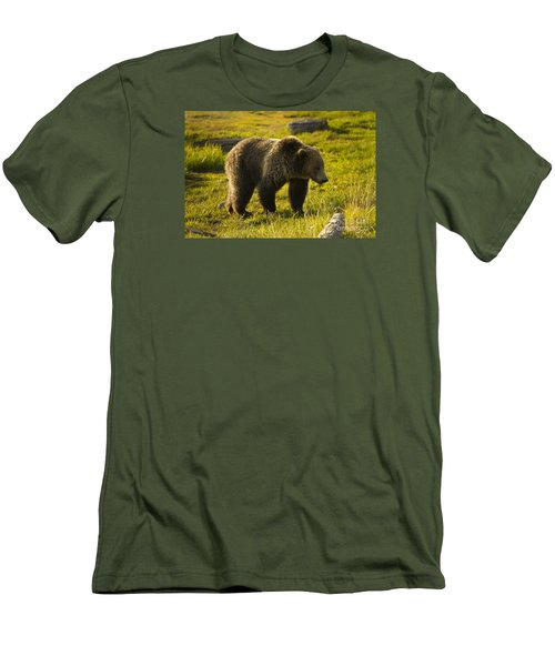Men's T-Shirt (Slim Fit) featuring the photograph Grizzly Bear-signed-#4477 by J L Woody Wooden