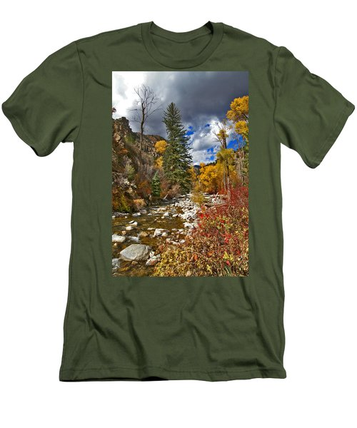 Men's T-Shirt (Slim Fit) featuring the photograph Grizzly Creek Vertical by Jeremy Rhoades