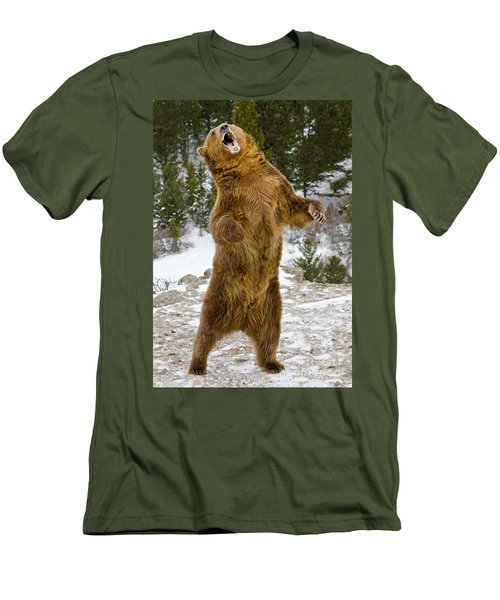 Men's T-Shirt (Slim Fit) featuring the photograph Grizzly Standing by Jerry Fornarotto