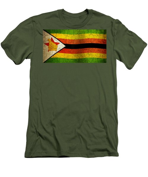 Grunge Zimbabwe Flag Men's T-Shirt (Athletic Fit)