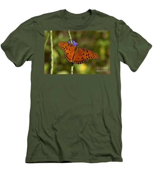 Men's T-Shirt (Slim Fit) featuring the photograph Gulf Fritillary Butterfly by Meg Rousher