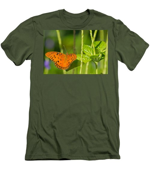 Men's T-Shirt (Slim Fit) featuring the photograph Gulf Fritillary by Jane Luxton