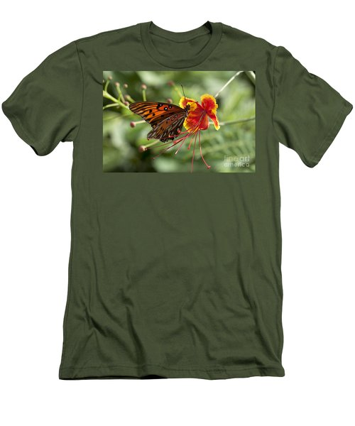 Men's T-Shirt (Slim Fit) featuring the photograph Gulf Fritillary Photo by Meg Rousher